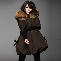Winter large raccoon fur wadded jacket female thickening medium-long cloak cotton-padded jacket outerwear cotton-padded jacket