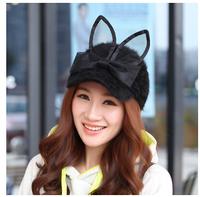 vogue cute winter rabbit fur hat women's baseball cap cat ear devil caps fashion lady hip hop gorras snapback hat girls W00258