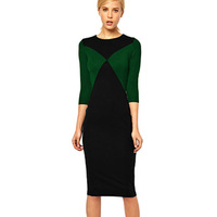2014 Autumn bottoming Sleeve Tee hit the color package hip dress elegance