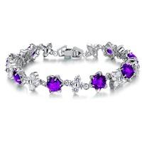 OPK 2015 Hot Sale Star Shaped Bracelets White Gold Plated Austrian Crystal Bracelet & Bangle For Women Free Shipping Wholesale