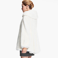 2014 marten overcoat Women mink fur medium-long white slim outerwear