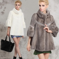 2014 mink marten fur coat overcoat cute stand collar mink female