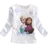 Frozen Princess Top Autumn Girls White Long Sleeved Tshirt Cute Elsa And Anna Cartoon Girls Tshirt Baby Girl Clothing 5pcs/lot