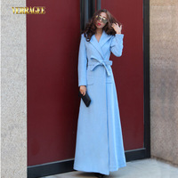 Free Shipping 2014 New Arrival Women's Winter Hooded Sky Blue Long Overcoat Slim Plus Size Woolen Floor Length Trench 3 colors