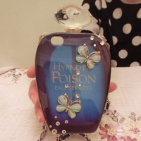 Butterfly Perfume Case for iPhone Diamond Sapphire Bottle Imitated Hald Round Pearls