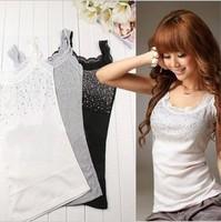 Hot Fashion Women Elegant Vest Lace Collar Bling Tank Sleeveless Tops White/Black Free Shipping