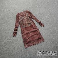 Z 2014 female jj 1004 Dark gray genuine leather cutout perspective lace one-piece dress