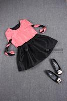 2014 autumn genuine leather women one-piece dress fashion sheepskin vent pressure pleated one-piece dress