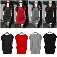 New 2014 Autumn Winter Hot Sale Women's Sweater Dress Casual Pocket Jersey Dresses For Women M L 4 Colors #12 CB029884