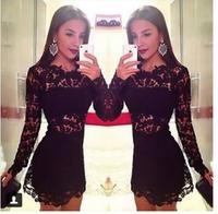 2014 new fashion women dress women's lace patchwork sexy long sleeve dress black casual dresses