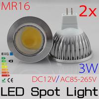 2x 4w MR16 LED spotlight High Brightness COB refletor led led lampada POWER led spot lamp DC12V FREESHIPPING