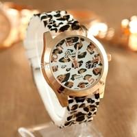 New GENEVA Geneva watches fashion trend leopard silicone watch women watches personality!