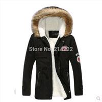 2014 new winter men's hooded thick cotton velvet male couple badge Korean long section fitted padded Winter coat male