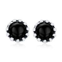 Vintage men earrings  stainless steel round stud earrings punk rock ear jewelry