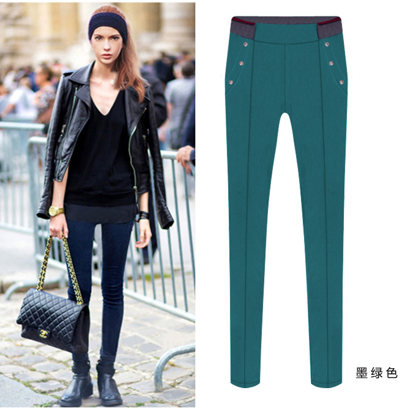 Fall and winter fashion big yards thick velvet stretch feet high waist long section skinny Leggings Free shipping(China (Mainland))