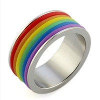 Supply rainbow rings personalized rings for men and women in Europe and America selling ring titanium steel jewelry wholesale PR
