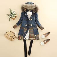 2014 winter women's with a hood raccoon fur medium-long horn button denim outerwear wadded jacket