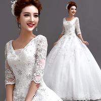 2014 Princess bride V-neck half-sleeve diamond lace strap winter wedding dress A036#