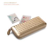 Good quality New Fashion Women purse  Long sheepskin weave  wallet Ladies Hand bag