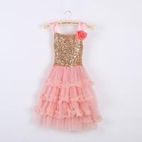 Wholesale ! Girls summer sweet flower sequins tutu dress , girl dress princess ,kids dresses , 6pcs/lot