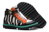 GZ origianl punk genuine leather height increasing zebra grain teeth bottom men and women lovers sneakers,EUR35-46,brand shoes