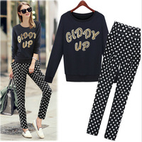Euramerican style 2014 couture autumn new round neck long sleeve shirt + fashion, cultivate one's morality haroun pants suit