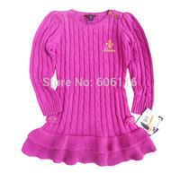 retail Children/kids/girls pure dark pink autumn/winter/ spring clothing / long sleeve sweater dress /christmas gift for girl