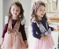 2014 Girls sequined vest dress + T-shirt ,girls clothing sets , 5pcs/lot   YZZ01