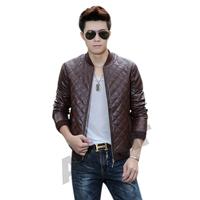 Amur Men's Fashion Clothing Faux PU Leather Motorcycle Jacket Coat Outerwear Khaki/Black/Brown