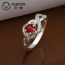 2014 SALE joias 925 Silver ruby wedding Austrian Crystal CZ Simulated Diamonds ring new design for lady