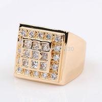 Wholesale Lowest Price Shiny 18k Yellow Gold Filled Mens Ring SZ10 Zircon Wedding Rings GF Jewelry Wedding Jewelry Free S/H
