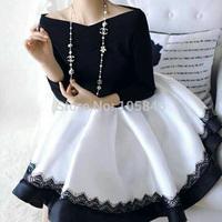 Autumn Disigner Luxury Women Europe Style Fashion Women Sexy Slash Neck Black White Contrast Color High Waist Ball Gown Dress