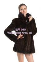 BG70764 Real Brown Mink Fur Coat Female Elegant Warm Fur Coat Jacket Big Button Plus Size Drop Sgipping