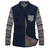 Plus Size 4XL Brand Men Shirts thick winter shirt casual fashion clothing  slim fit long sleeve free shipping
