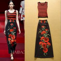 2015 fashion elegant stripe vest top print bust skirt set twinset