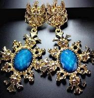 European and American Queen Fan grandiose palace Earrings,green earrings,gold drop earrings