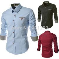 fashion new Men's Slim plaid shirt Korean side shirt