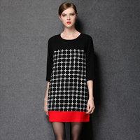 M-5XL European Style Women Brand Plaid Half Sleeve Loose Straight Dresses 2014 Autumn Winter Vestidos Plus Size XXXXL