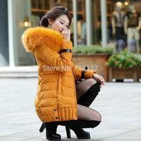 L-3XL 2014 winter jacket women big fur collar padding cotton casual down jacket parkas warm outdoor thick outwear coats jacket