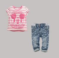 ST046 Free Shipping Kids Apparel 2014 Baby Girls Clothing Sets Girls MINNIE Stripe Jeans Set Summer Short-Sleeve MINNIE