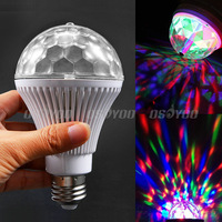 22pcs/lot Sound Control RGB Crystal Ball Effect Light E27 LED Rotating Stage Lighting For Disco DJ Party