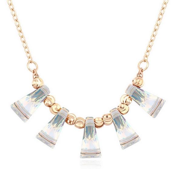Crystal necklace bride wedding Jewelry metal work personalized monogram cluster fashion bib cluster ageless geometric necklace(China (Mainland))