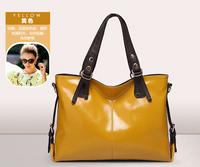 New Arrival Genuine Oil Wax Leather Handbags Women Casual Shopper Tote European Fashion Shoulder Bags and Purse Bolsas Femininas
