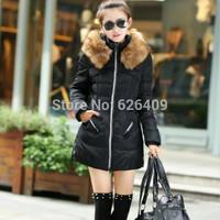 Hot Sale Winter Women  Casual Jacket Coat Thicken Slim Female Fur Collar Long Coat Parka Plus Size 4XL Free Shipping