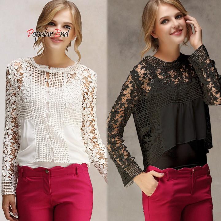 2015 New Women Long Sleeve Lace Chiffon Shirt Spring SummerFloral Crochet Hollow Out Lace Shirt Blouse B21 CB031981(China (Mainland))