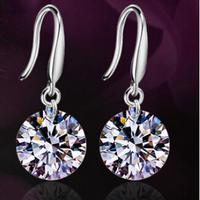 Brand New ,Top Quality, S925 sterling silver,10MM 2.5 Carat Pure Shinning CZ Diamond Women Dangle drop earrings,free shipping
