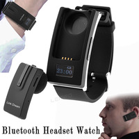 Bluetooth V3.0 Headset Watch Detachable Sports in Ear Earphone Time Display Headphone Wristwatch for iPhone Samsung Cell phones