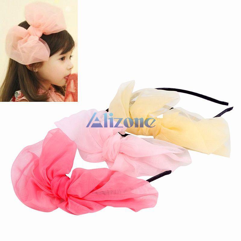Kids Baby Toddler Girl Elastic Headband Chiffon Bowknot Headwear Hair Accessories Ban Gift Styling Tools#65964(China (Mainland))