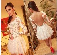 New 2014 Lace Stitching Gauze Hollow Out Women Sexy Dress Vestido De Festa Evening Party Dresses