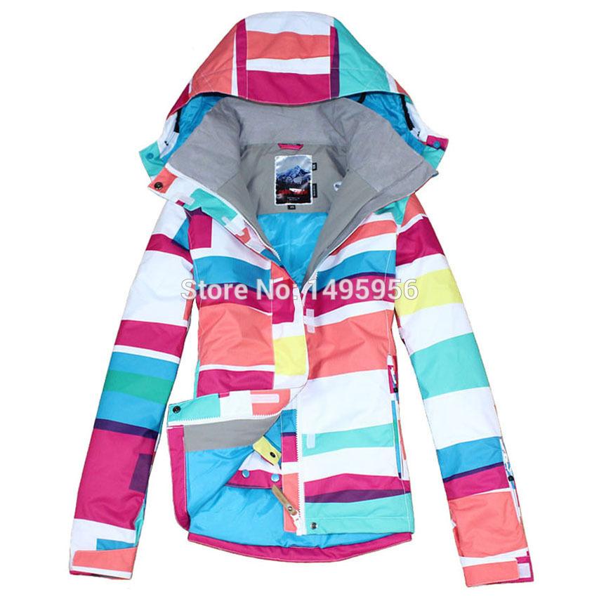 Free shipping 2014 new womens colorized plaid waterproof snowboard jackets ladies colorful grid ski jacket skiwear(China (Mainland))